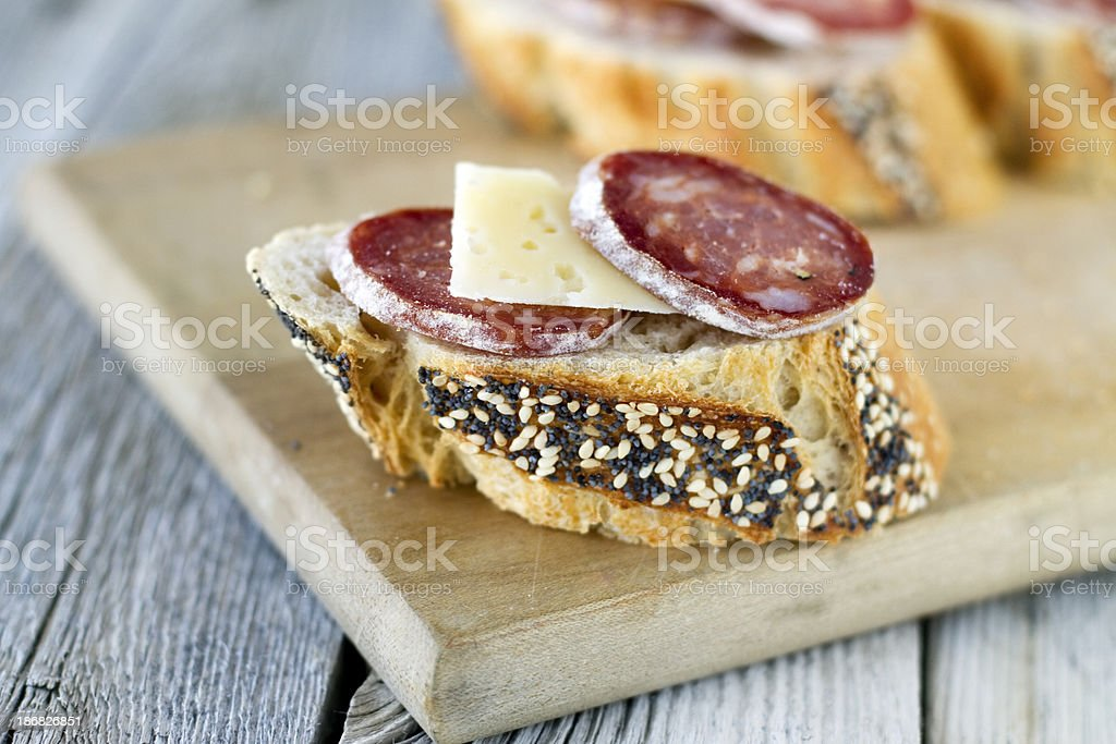 Salami and Cheese on Bread royalty-free stock photo