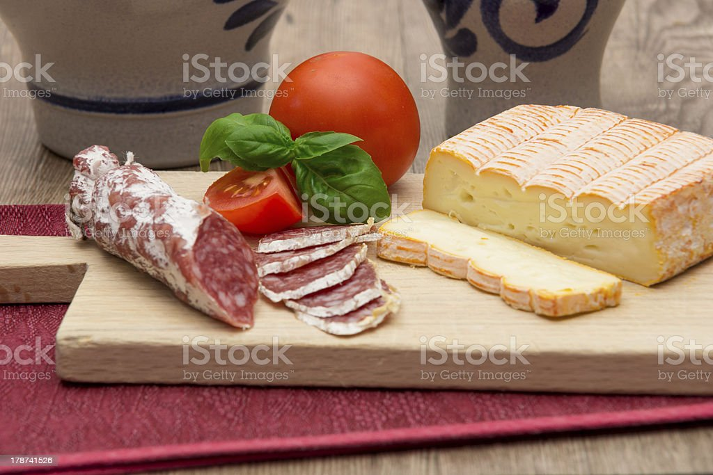 Salami and cheese stock photo