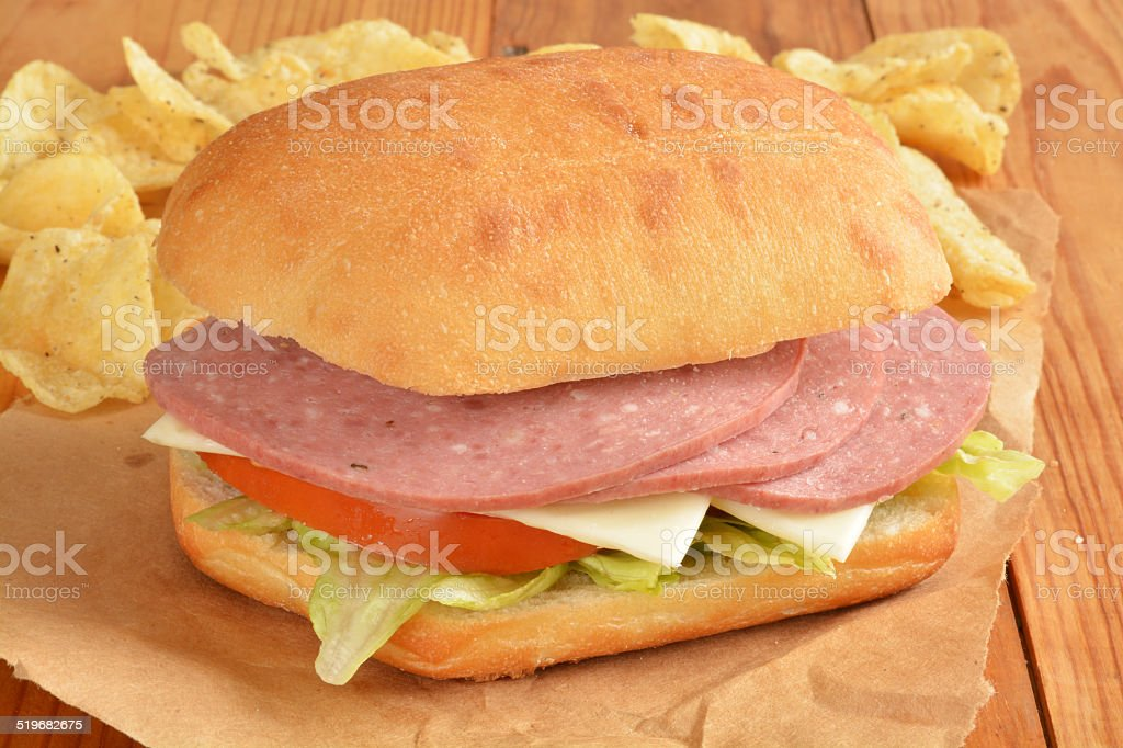 Salami and cheese sandwich stock photo