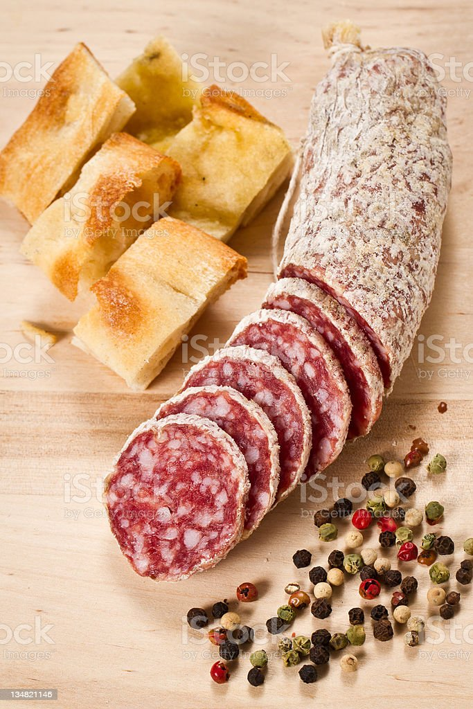 Salami and focaccia pizza royalty-free stock photo