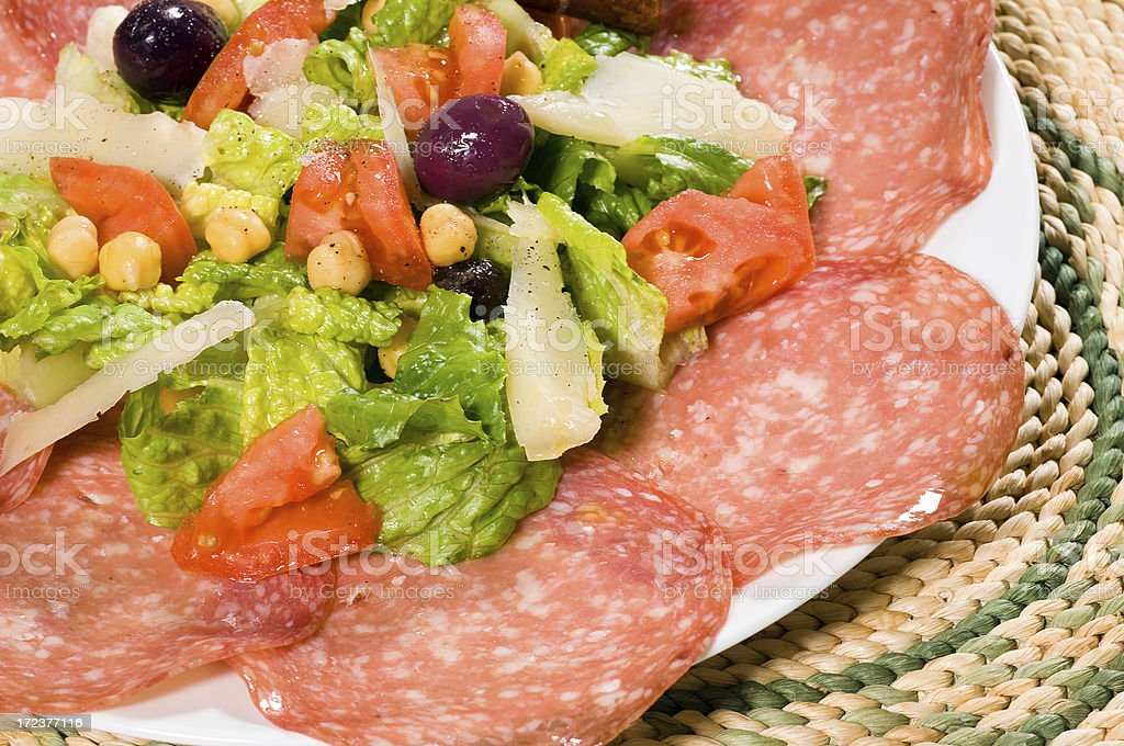 Salami and manchego cheese salad royalty-free stock photo