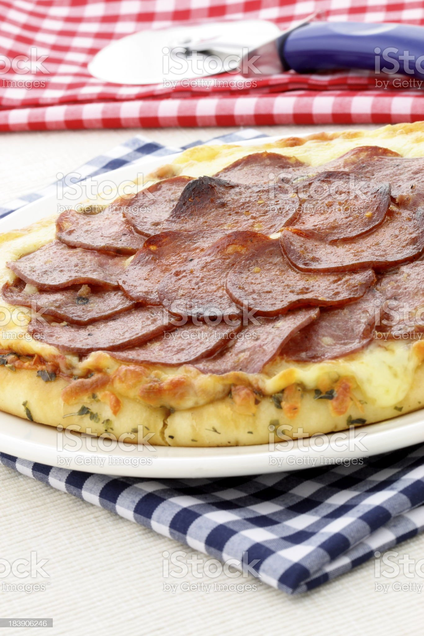 salami and pepperoni pizza royalty-free stock photo