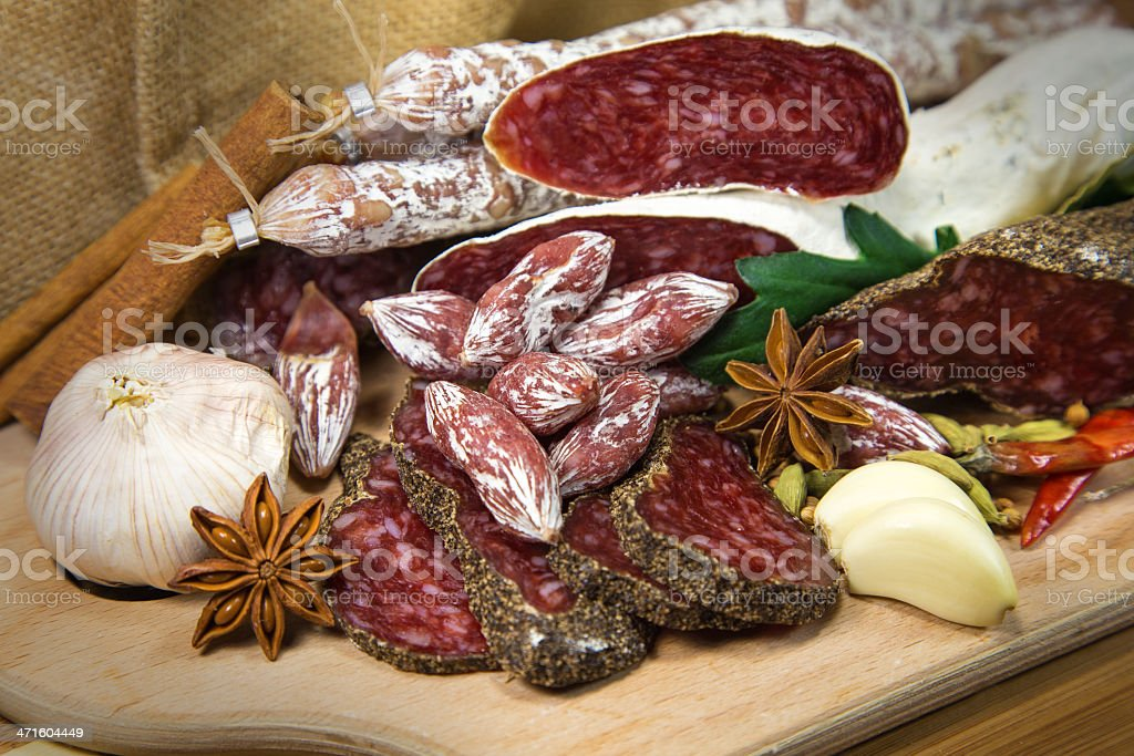 Salami assorted royalty-free stock photo