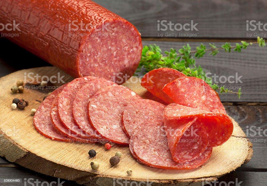 salami close up stock photo