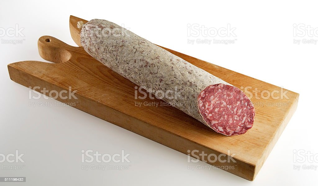 Salami cut on Cutting board stock photo