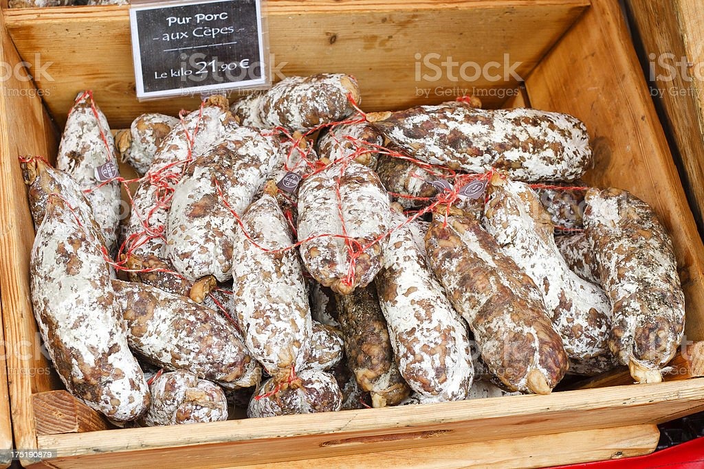 Salami for Sale royalty-free stock photo