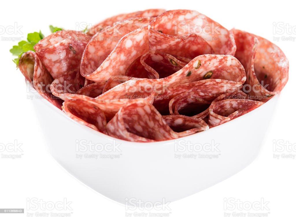 Salami isolated on white stock photo