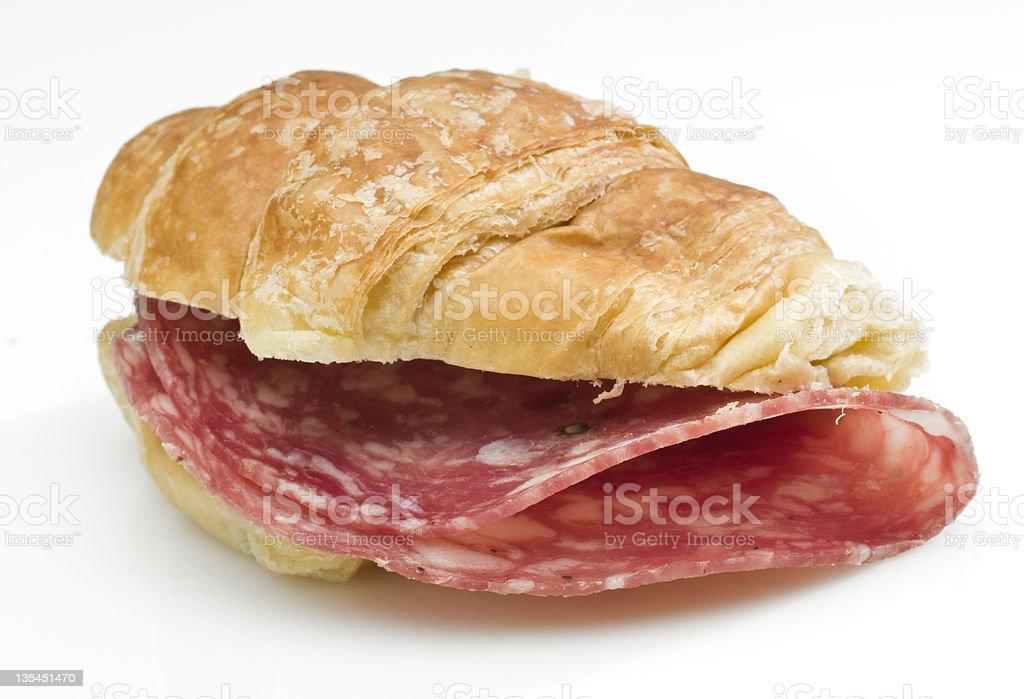 Salami mini croissant sandwich stock photo
