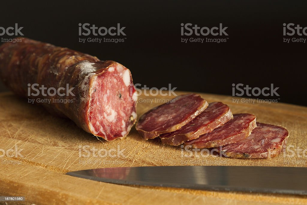 Salame su tagliere royalty-free stock photo