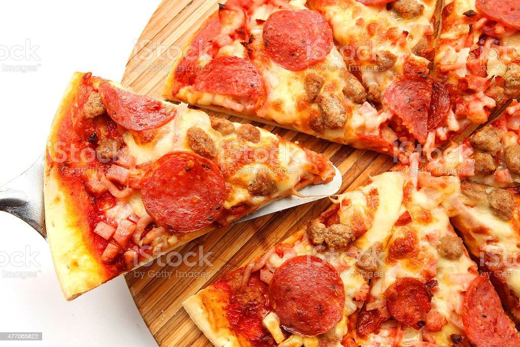 salami pizza stock photo