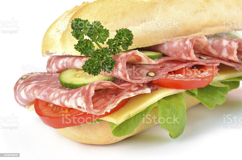 Salami sandwich royalty-free stock photo