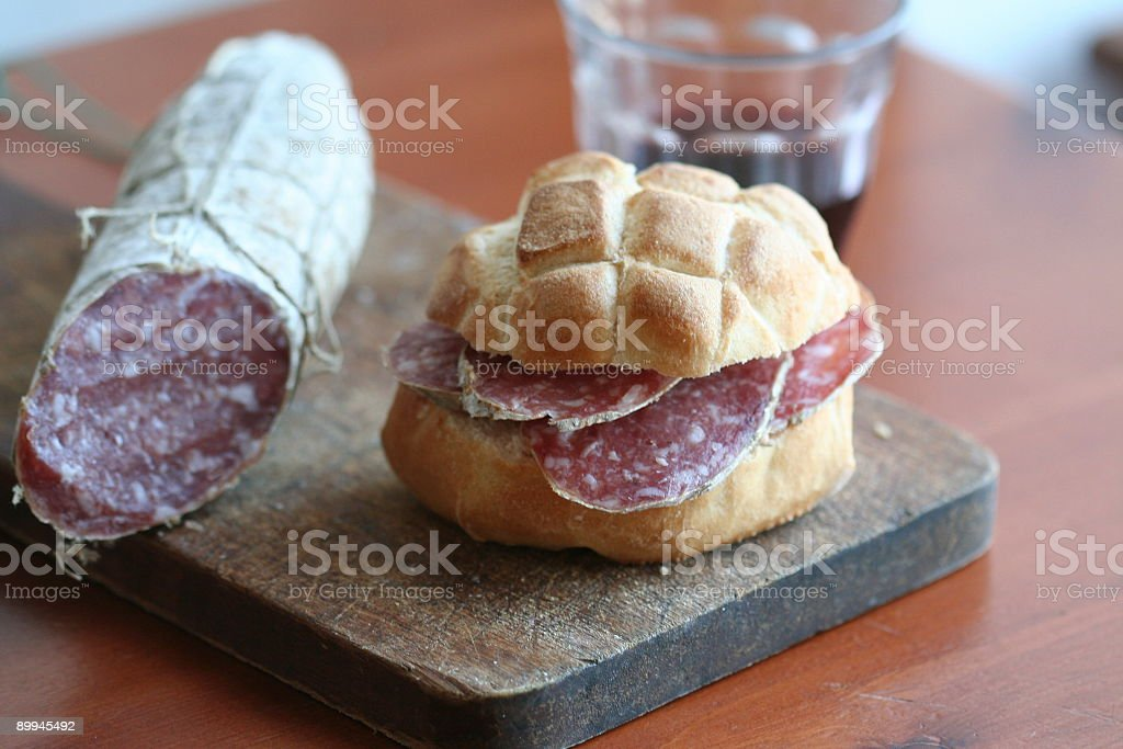 Salami sandwich royalty-free stock photo