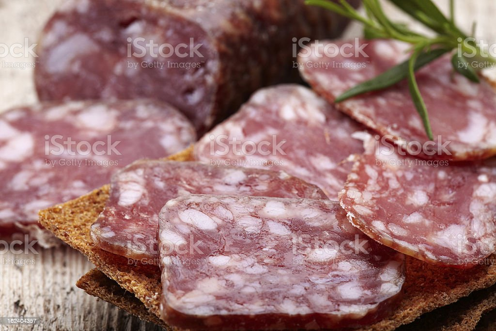 Salami sausage and bread royalty-free stock photo
