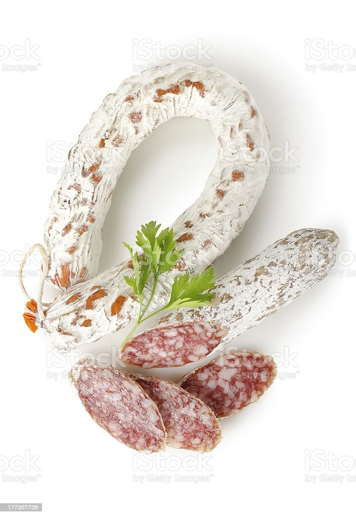 Salami sausage and parsley stock photo