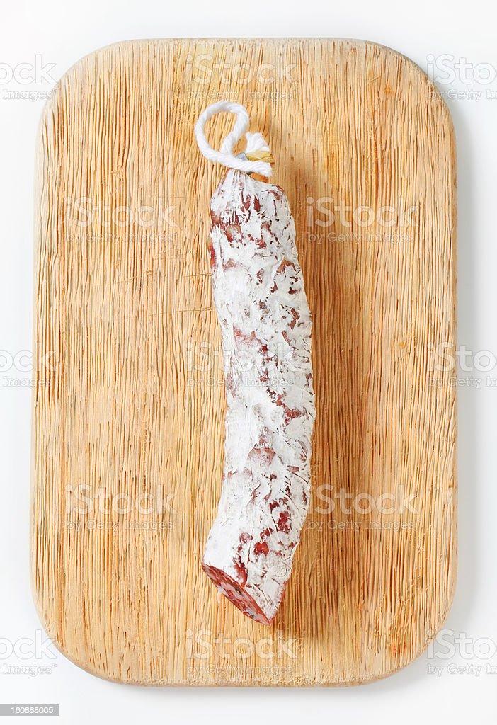 salami sausage on cutting board royalty-free stock photo