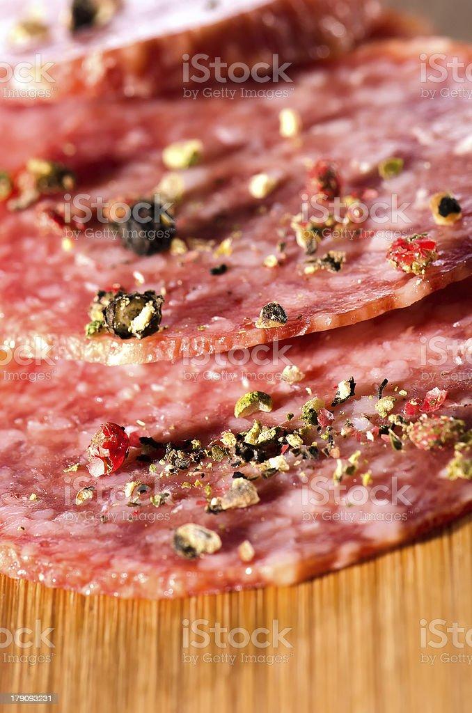 Salami slices royalty-free stock photo