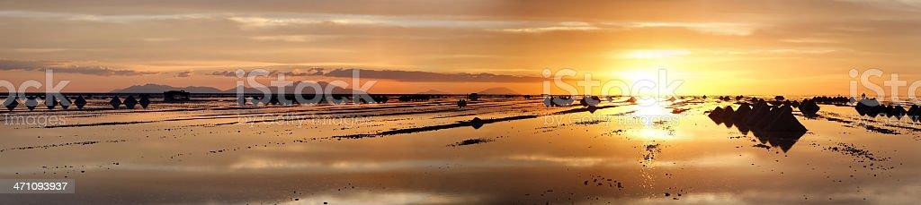Salar de Uyuni sunset panorama royalty-free stock photo