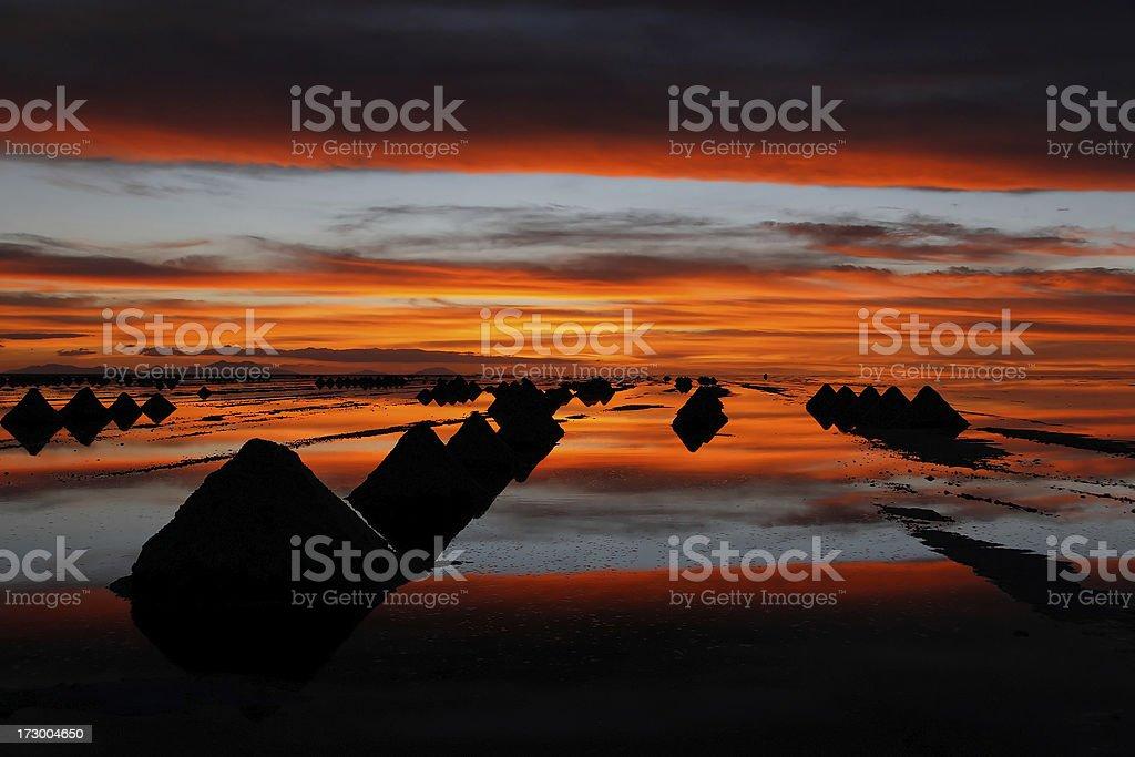 Salar de Uyuni sunset royalty-free stock photo