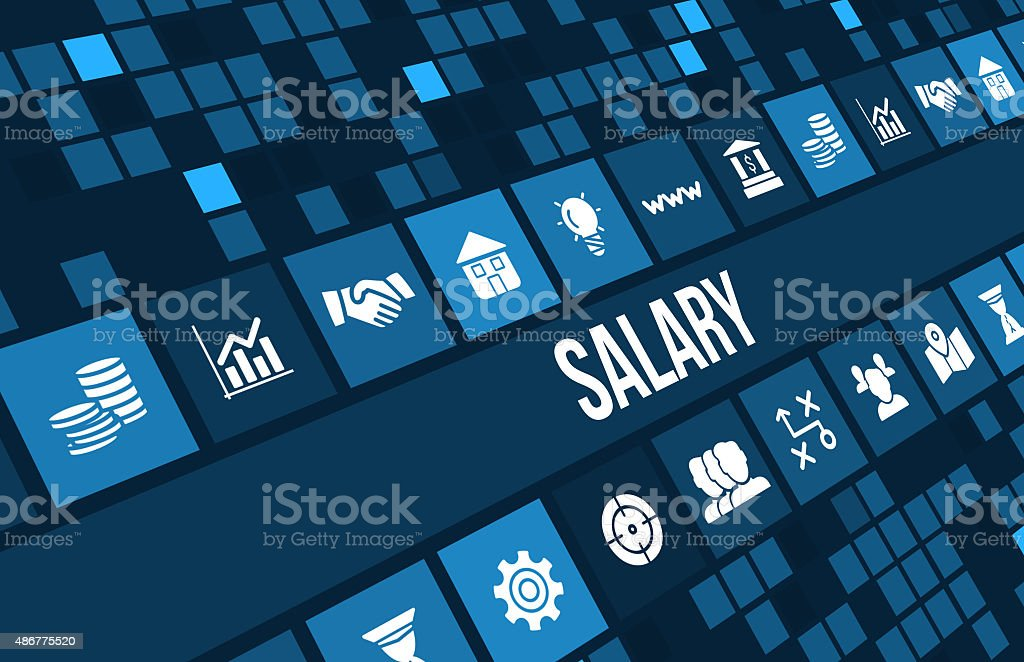 Salary concept image with business icons and copyspace. stock photo