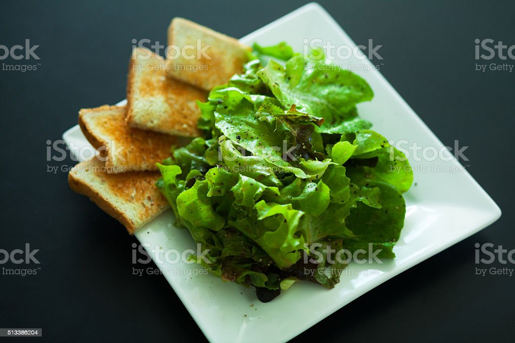 Salat with toast stock photo
