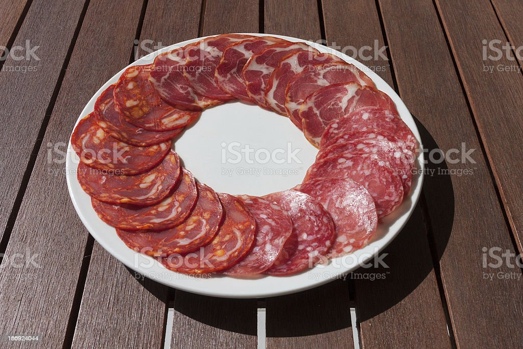 Salchichon, Chorizo and Cabecero sausage on plate royalty-free stock photo