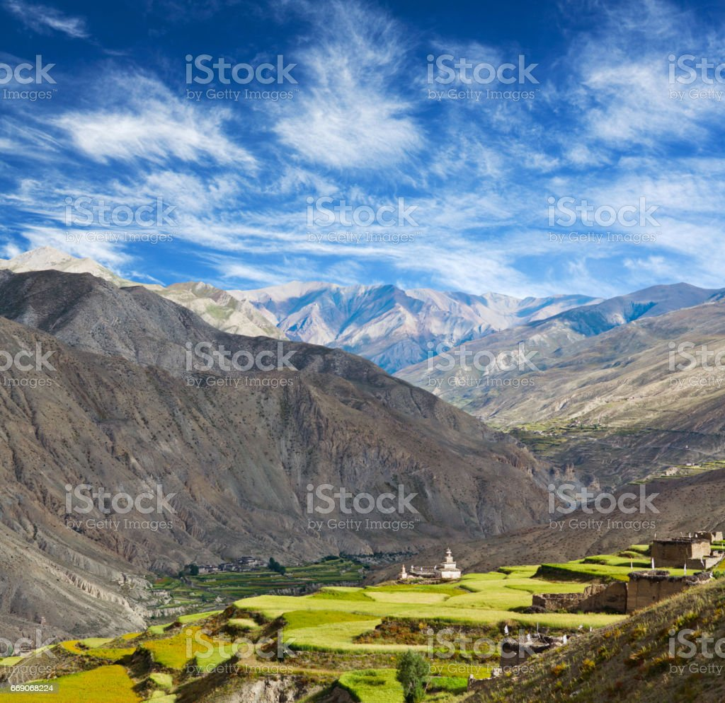 Saldang village in Dolpo, Nepal Himalaya stock photo