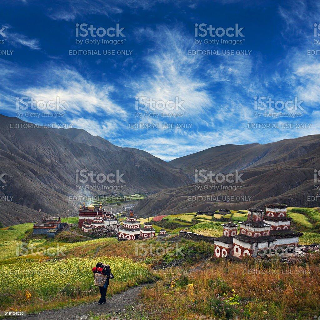 Saldang village, Nepal stock photo