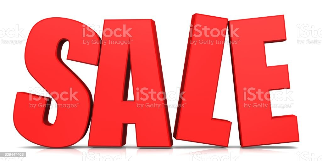 sale 3d red banner template text isolated stock photo