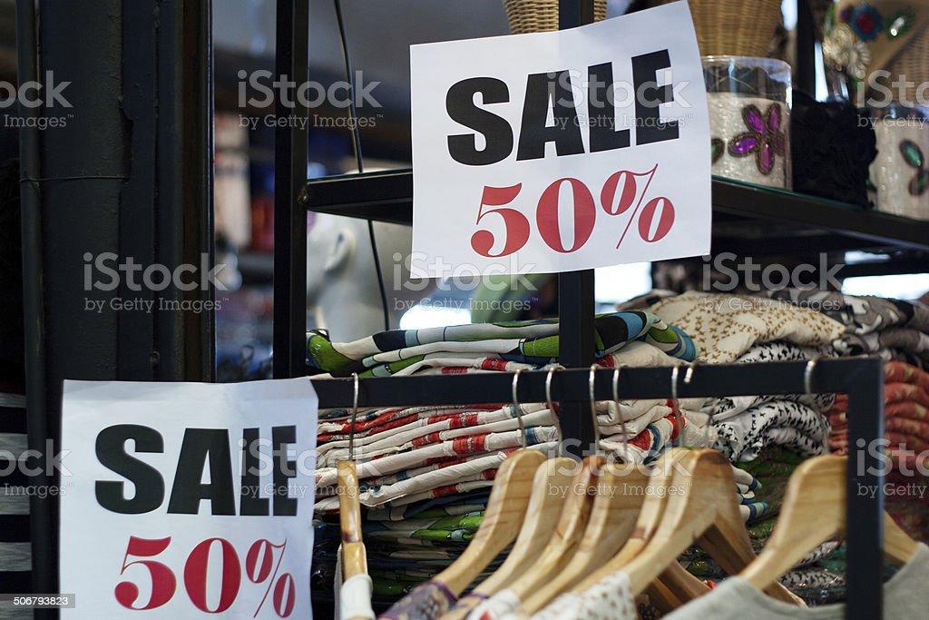 Sale 50% in Thai shop stock photo