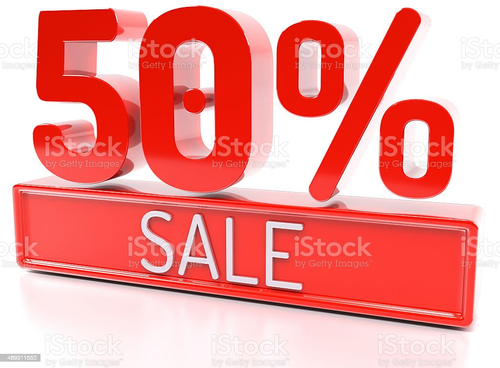 50% sale, 50 percent, 3d discount banner - isolated stock photo