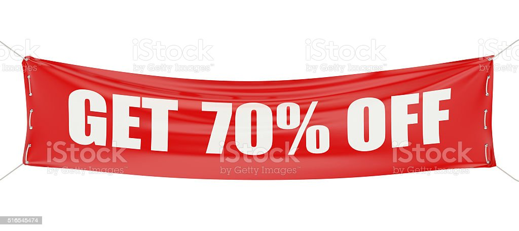 sale and discount 70% concept stock photo