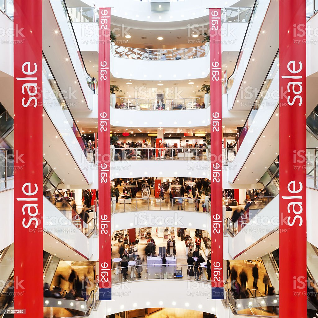 Sale Banner in Mall stock photo