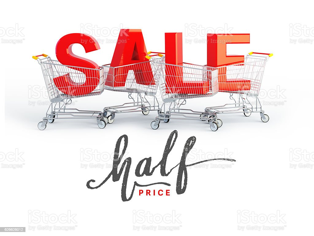 sale banner template design. 3d render and illustration. stock photo