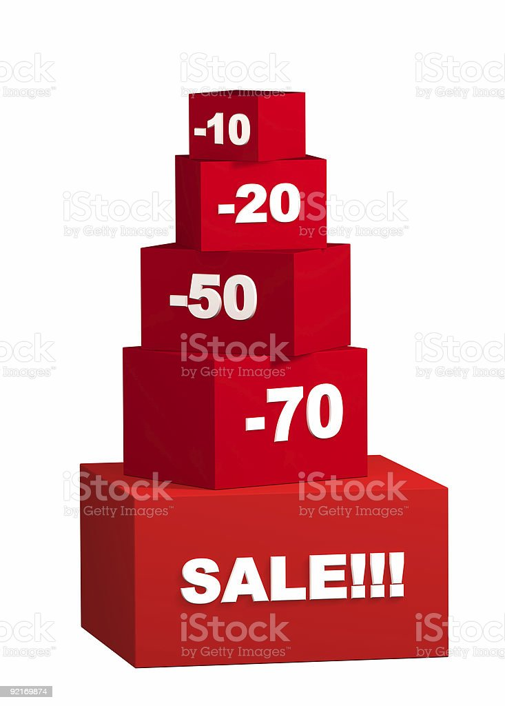 Sale - boxes with the goods for reduced prices royalty-free stock photo