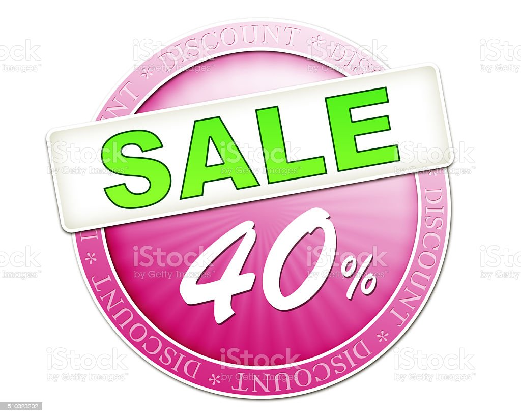sale button 40% stock photo