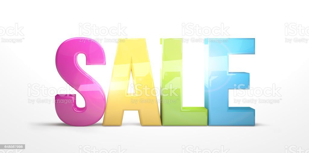 sale colorful 3d render stock photo