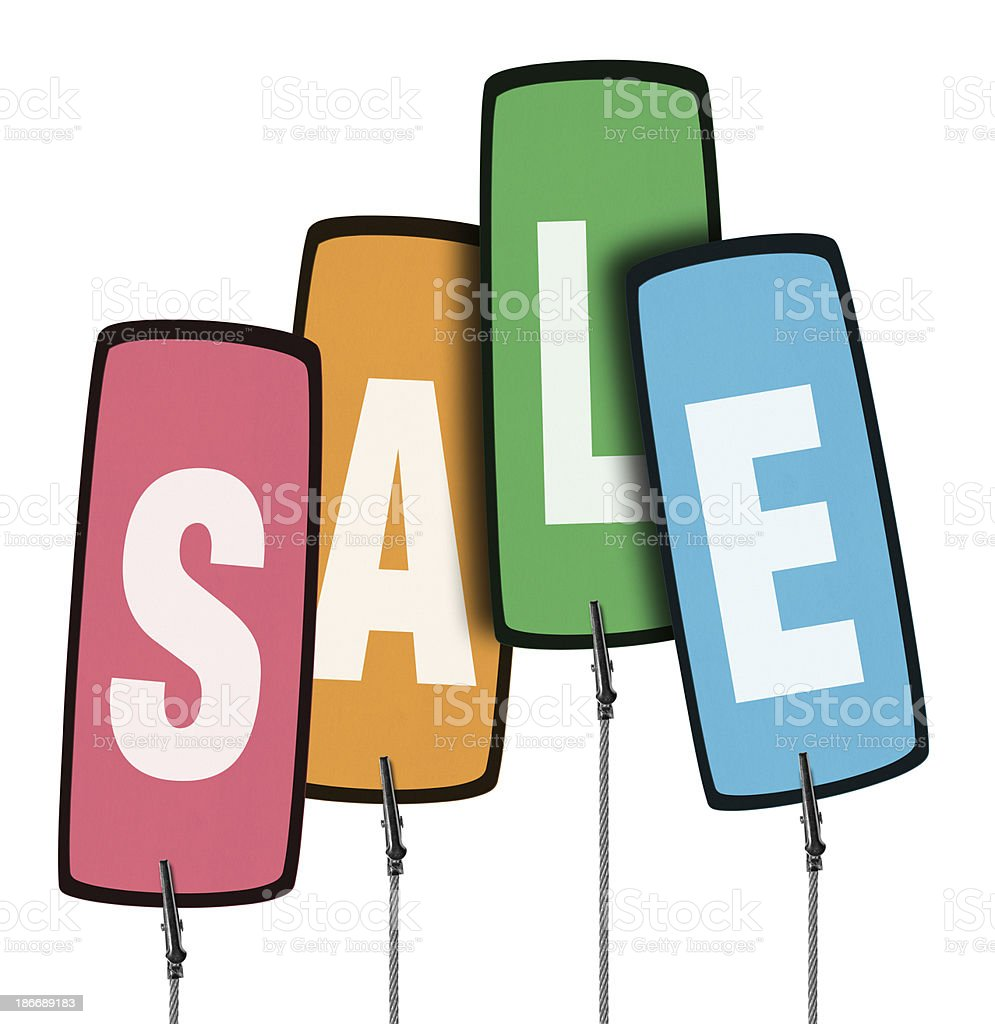 Sale Colorful Tag in Wire Clamp 4 (Clipping Path) royalty-free stock photo