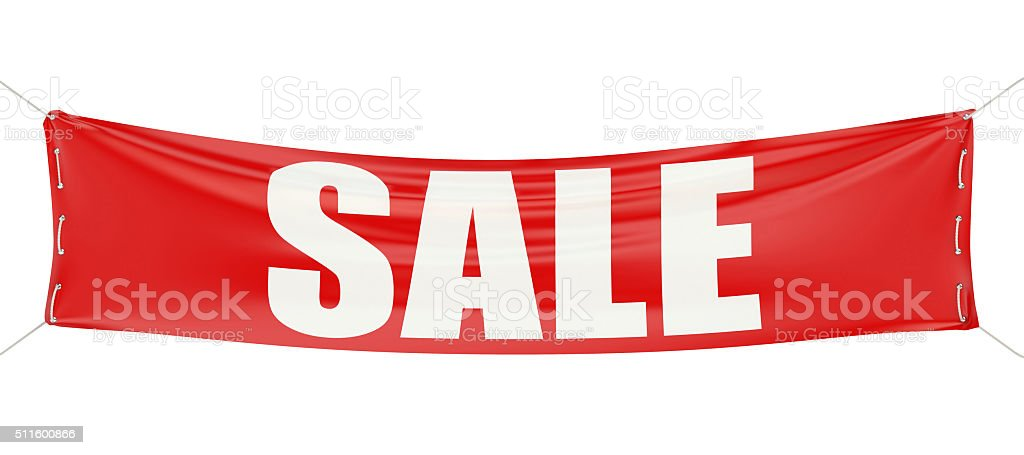 sale concept on the red banner stock photo