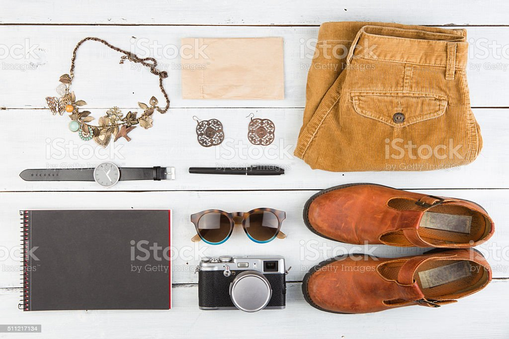 Sale concept - set of cool woman stuff stock photo