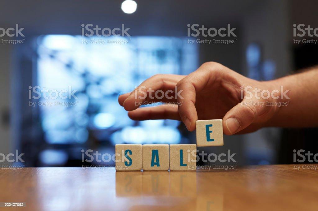 Sale Concept with Alphabet Blocks stock photo