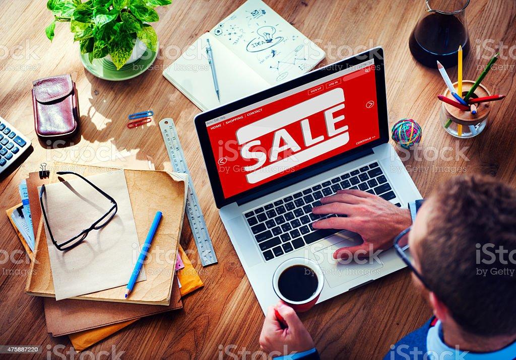 Sale Discount Promotion Deduction Man Planning Concept stock photo