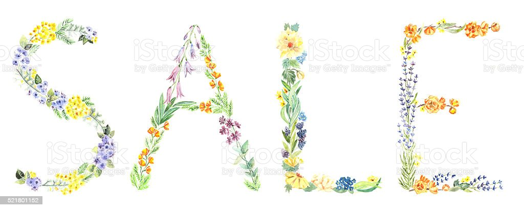 Sale, hand painted watercolor sign stock photo