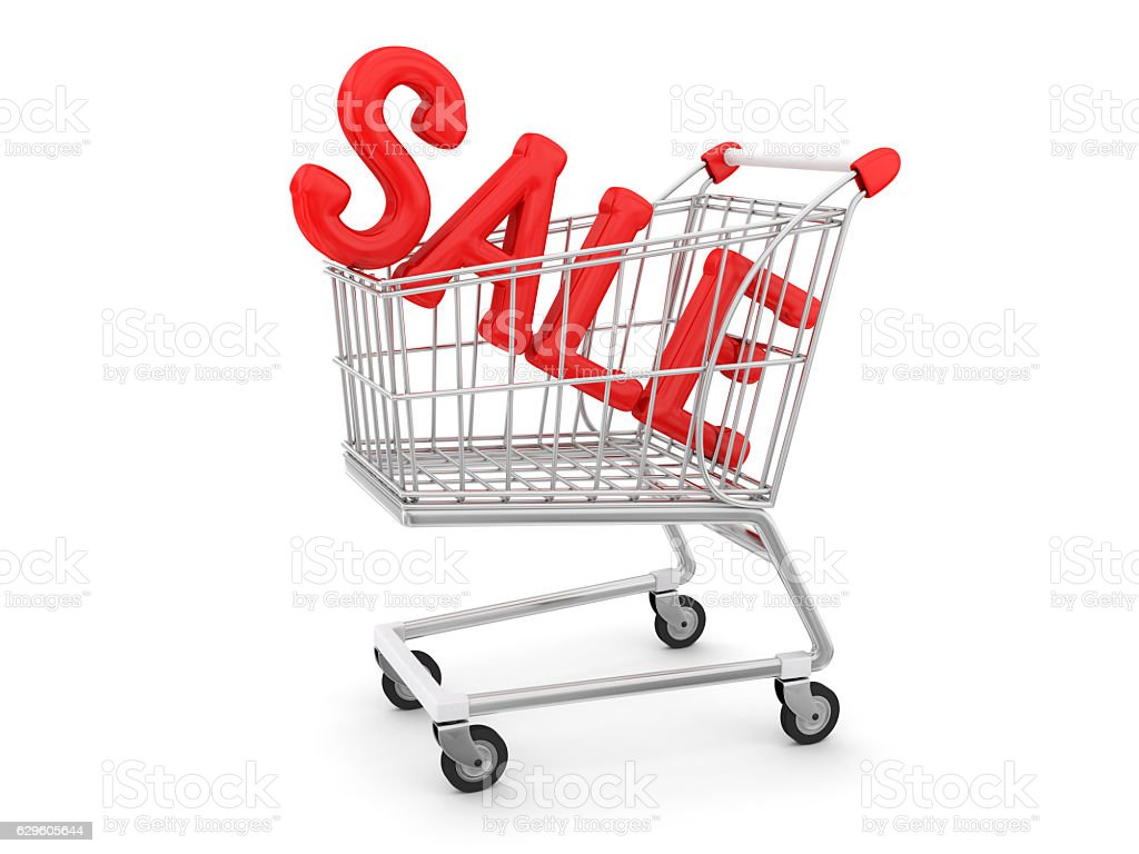 Sale in shopping trolley stock photo