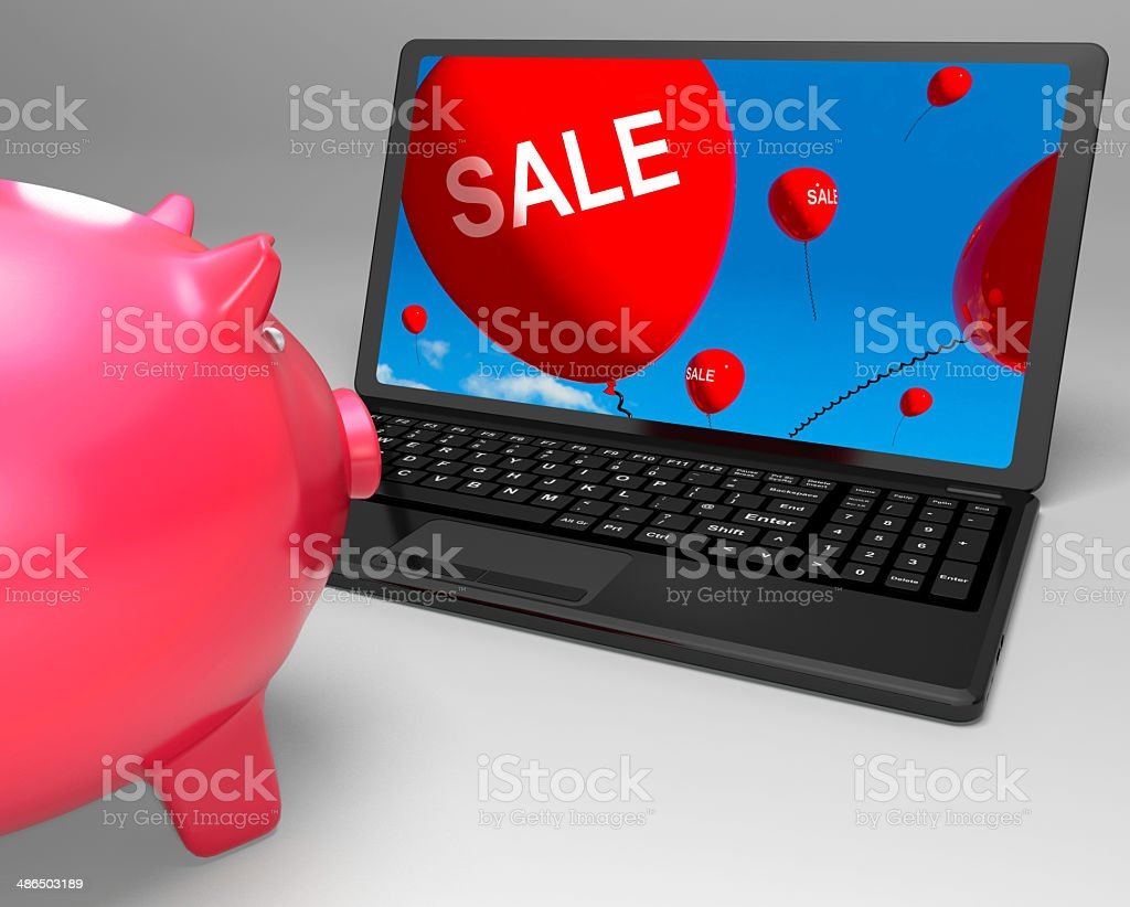 Sale Laptop Shows Online Reduced Prices And Bargains royalty-free stock photo