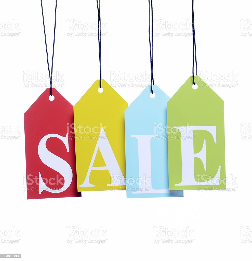 Sale letter tags stock photo