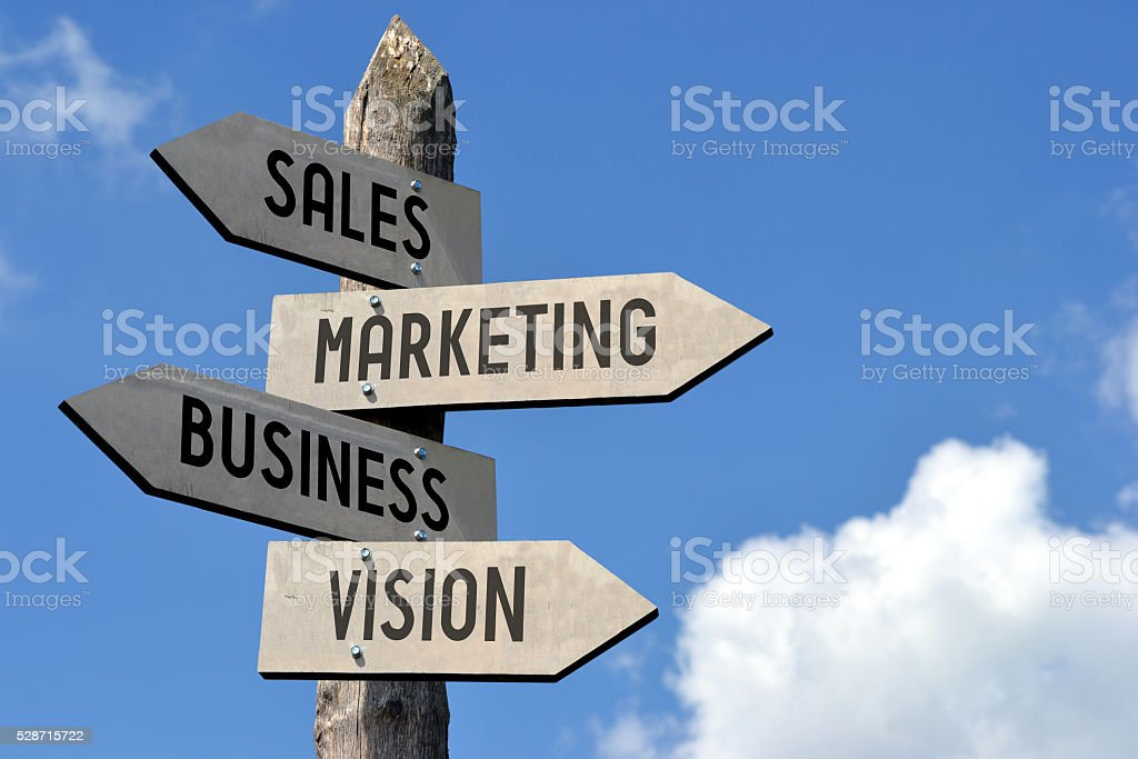 Sale, marketing, business, vision signpost stock photo