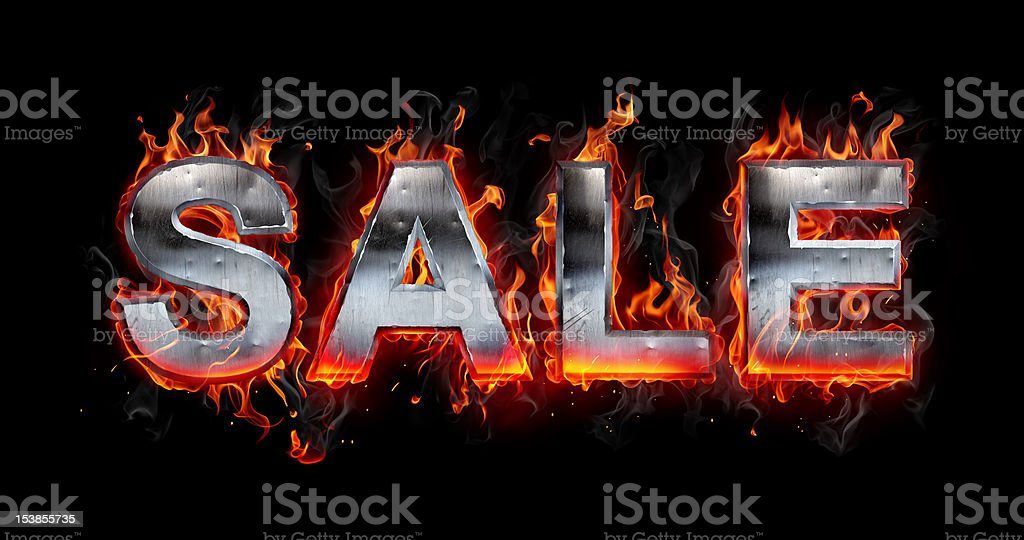 Sale - Metal letter on fire royalty-free stock photo