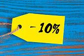 sale minus 10 percent. Big sales 10%, ten percents on