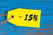 sale minus 15 percent. Big sales 15%, fifteen percents on