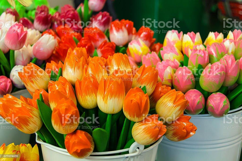 Sale of artificial souvenir Dutch tulips, Netherlands stock photo